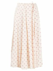 Valentino silk V logo print pleated skirt - Neutrals