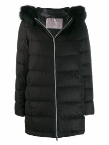 Herno hooded zip-up coat - Black