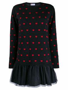 Red Valentino heart intarsia tulle hem dress - Black