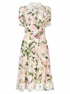 Dolce & Gabbana lace trimmed floral dress - Pink