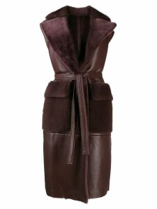 Blancha fur lined sleeveless coat - PURPLE
