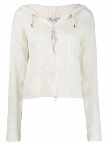 Brunello Cucinelli ribbed zipped sweatshirt - White