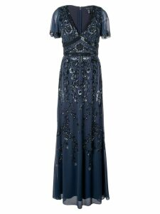 Aidan Mattox floral beaded evening dress - Blue