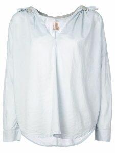 A Shirt Thing Frill collar open neck shirt - Blue