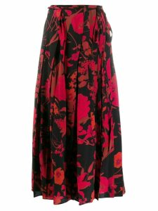 Valentino floral print pleated skirt - Black