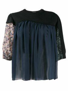 Kolor contrast flared blouse - Blue