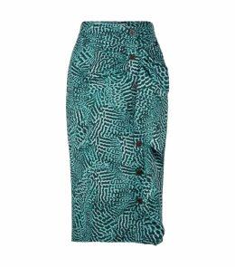 Ruffled Trim Midi Skirt