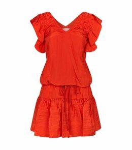 V-Neckline Ruffle Dress