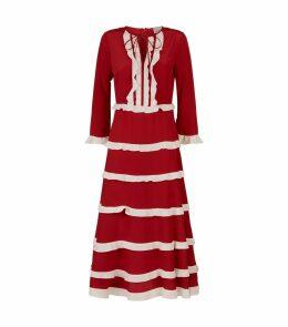 Ruffle Tier Silk Dress