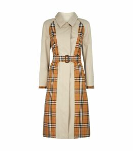 Garbadine Check Panel Car Coat