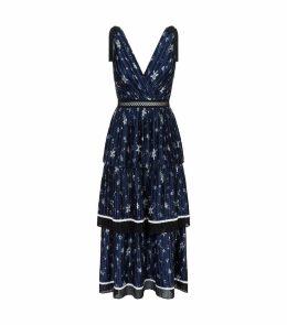 Tiered Star Print Midi Dress