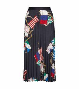 Scarf Print Midi Skirt
