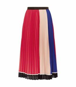 Colour Block Pleated Midi Skirt