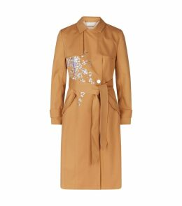 Embroidered Bllue Trench Coat