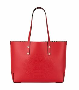 Small Leather Embossed Crest Tote Bag