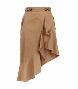 Flounced Asymmetric Canvas Skirt