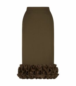 Ruffled Hem Midi Skirt