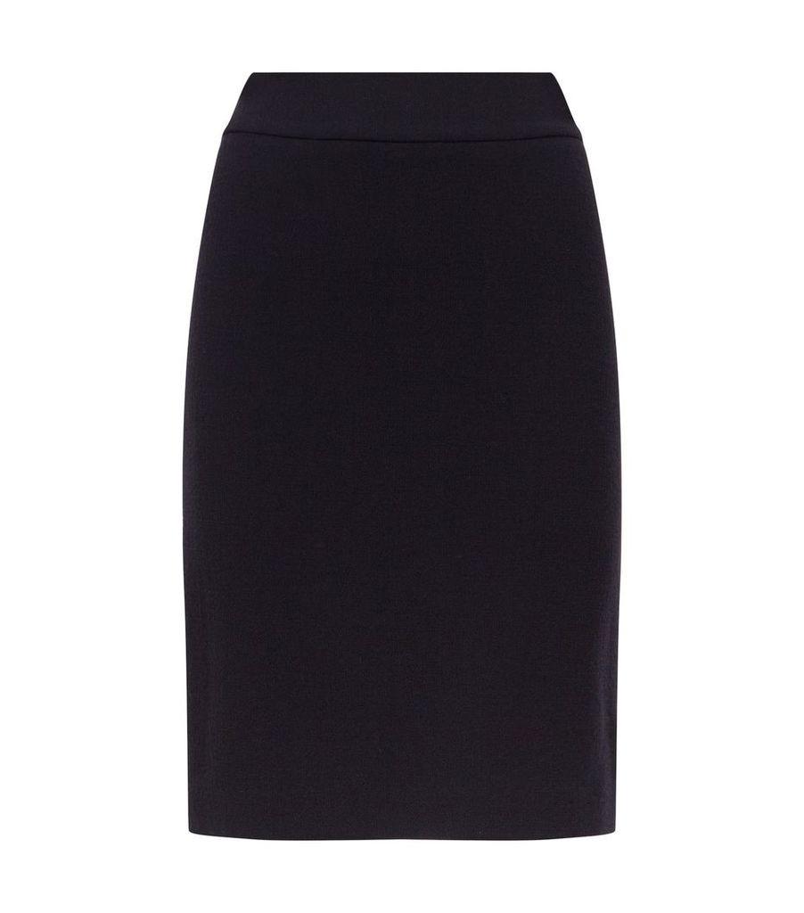 Textured Wool Pencil Skirt