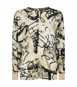Silk Abstract Print Blouse