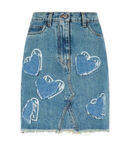 Heart Print Denim Skirt