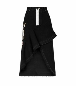 Asymmetric Embroidered Denim Skirt