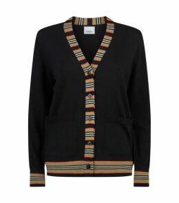Wool Stripe Trim Cardigan