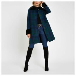 Womens Blue check button faux fur trim swing coat