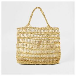 Womens Gold metallic woven straw tote bag