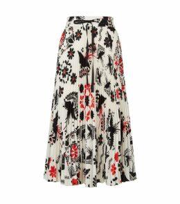 Bird Print Pleated Skirt