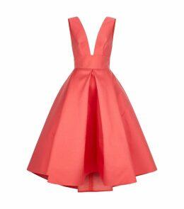 Plunge Neck Pleated Midi Dress