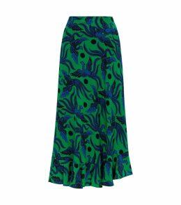 Bird PrintRuffle Skirt