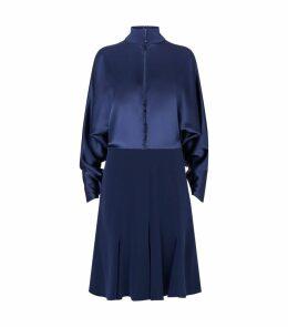 Satin Buttoned Mini Dress