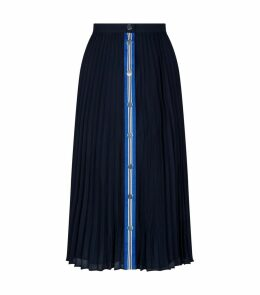 Stripe Trim Pleated Skirt