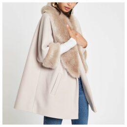 Womens Cream faux fur trim swing coat