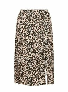 Brown Animal Print Midi Skirt, Others