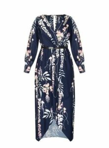 **City Chic Navy Blue Floral Dip Hem Dress, Navy