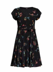 **City Chic Black Botanical Floral Dress, Black