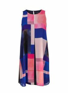 Black Split Front Overlay Dress, Bright Multi