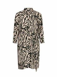 Beige Zebra Print Shirt Dress, Beige/Natural