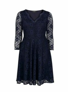 Navy Blue Lace Fit And Flare Dress, Navy