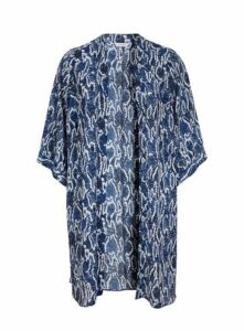 Blue Snake Print Kimono, Mid Blue