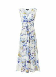 **Grace Ivory Blue Twist Knot Maxi Dress, Ivory