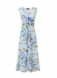 **Grace Blue Twist Knot Maxi Dress, Mid Blue