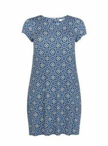 Blue Tile Print Shift Dress, Mid Blue