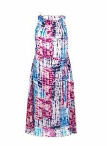 White Tie Dye Sleeveless Midi Dress, Purple