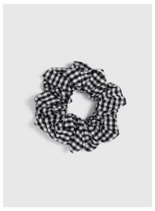 Black Gingham Scrunchie, Black