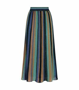 Metallic Stripe Midi Skirt