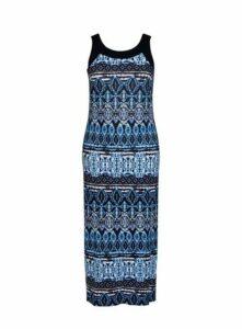 Blue Tie Dye Print Maxi Dress, Bright Multi