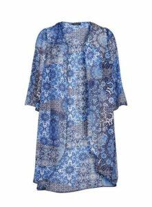 Blue Tile Print Kimono, Blue