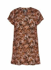 Brown Leopard Print Tunic Dress, Dark Multi